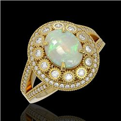 3.93 ctw Certified Opal & Diamond Victorian Ring 14K Yellow Gold - REF-149Y3X