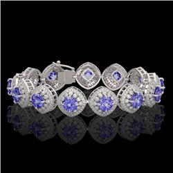 38.1 ctw Tanzanite & Diamond Victorian Bracelet 14K White Gold - REF-1136W8H