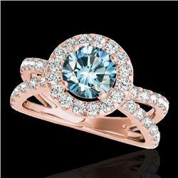 2.01 ctw SI Certified Fancy Blue Diamond Halo Ring 10k Rose Gold - REF-156R8K