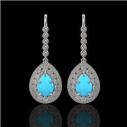 7.95 ctw Turquoise & Diamond Victorian Earrings 14K White Gold - REF-241W5H