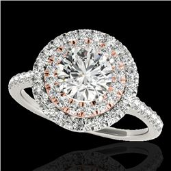 1.5 ctw Certified Diamond Solitaire Halo Ring 10k 2Tone Gold - REF-197W8H