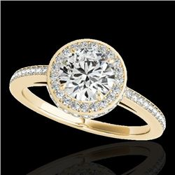 1.55 ctw Certified Diamond Solitaire Halo Ring 10k Yellow Gold - REF-197Y8X