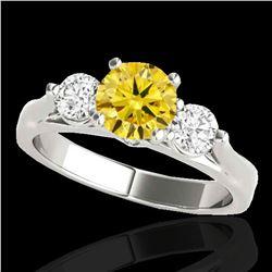 1.75 ctw SI/I Fancy Intense Yellow Diamond 3 Stone Ring 10k White Gold - REF-245M5G