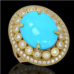 9.07 ctw Turquoise & Diamond Victorian Ring 14K Yellow Gold - REF-245X5A