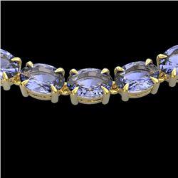 56 ctw Tanzanite Eternity Designer Necklace 14k Yellow Gold - REF-581K8Y