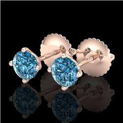 0.65 ctw Fancy Intense Blue Diamond Art Deco Earrings 18k Rose Gold - REF-61X4A