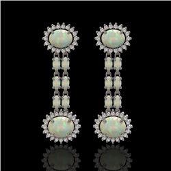6.73 ctw Opal & Diamond Earrings 14K White Gold - REF-227N3F