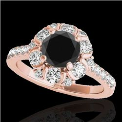 2.05 ctw Certified VS Black Diamond Solitaire Halo Ring 10k Rose Gold - REF-75Y2X