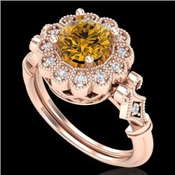 1.2 ctw Intense Fancy Yellow Diamond Art Deco Ring 18k Rose Gold - REF-290H9R
