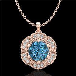 1.01 ctw Fancy Intense Blue Diamond Art Deco Necklace 18k Rose Gold - REF-163X6A