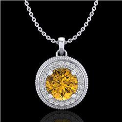 1.25 ctw Intense Fancy Yellow Diamond Art Deco Necklace 18k White Gold - REF-132R8K