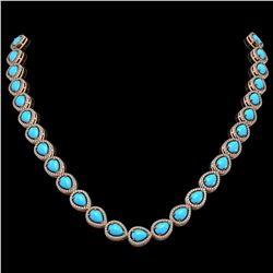 29.73 ctw Turquoise & Diamond Micro Pave Halo Necklace 10k Rose Gold - REF-588G5W
