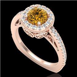 1.55 ctw Intense Fancy Yellow Diamond Art Deco Ring 18k Rose Gold - REF-200X2A