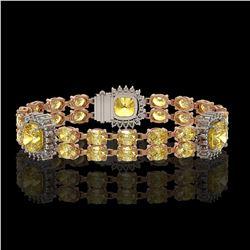15.95 ctw Citrine & Diamond Bracelet 14K Rose Gold - REF-263F6M