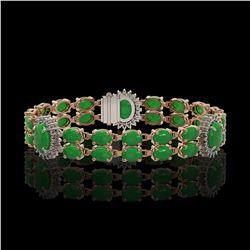 14.05 ctw Jade & Diamond Bracelet 14K Rose Gold - REF-254F5M