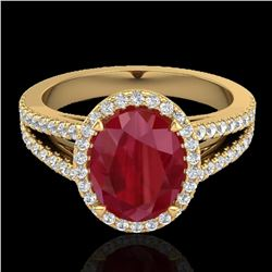 3 ctw Ruby & Micro Pave VS/SI Diamond Halo Ring 18k Yellow Gold - REF-78W2H