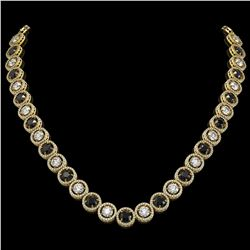 32.10 ctw Black & Diamond Micro Pave Necklace 18K Yellow Gold - REF-2386A4N