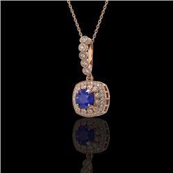 2.55 ctw Sapphire & Diamond Victorian Necklace 14K Rose Gold - REF-100H2R
