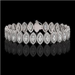 17.55 ctw Marquise Cut Diamond Micro Pave Bracelet 18K White Gold - REF-2397M3G