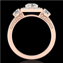 1.55 ctw VS/SI Diamond Solitaire Art Deco 3 Stone Ring 18k Rose Gold - REF-263R6K