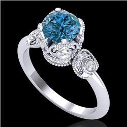 1.75 ctw Fancy Intense Blue Diamond Art Deco Ring 18k White Gold - REF-236R4K