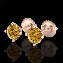 1.5 ctw Intense Fancy Yellow Diamond Art Deco Earrings 18k Rose Gold - REF-106K4Y