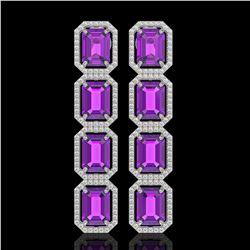 18.59 ctw Amethyst & Diamond Micro Pave Halo Earrings 10k White Gold - REF-209F3M