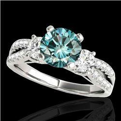 1.75 ctw SI Certified Fancy Blue Diamond 3 Stone Ring 10k White Gold - REF-177H3R