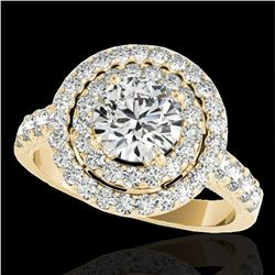 3 ctw Certified Diamond Solitaire Halo Ring 10k Yellow Gold - REF-422Y8X