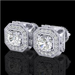 2.75 ctw VS/SI Diamond Solitaire Art Deco Stud Earrings 18k White Gold - REF-472W8H