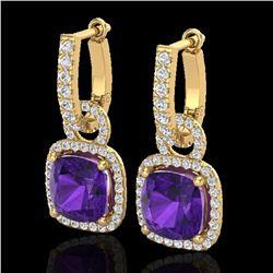 7 ctw Amethyst & Micro Pave VS/SI Diamond Earrings 18k Yellow Gold - REF-118A2N