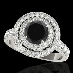 2.25 ctw Certified VS Black Diamond Solitaire Halo Ring 10k White Gold - REF-87H8R
