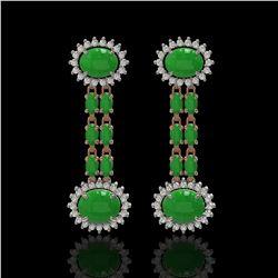 8.07 ctw Jade & Diamond Earrings 14K Rose Gold - REF-144Y8X