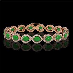 13.19 ctw Jade & Diamond Micro Pave Halo Bracelet 10k Rose Gold - REF-305W8H