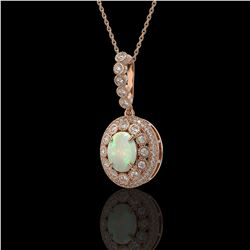 3.9 ctw Certified Opal & Diamond Victorian Necklace 14K Rose Gold - REF-139W8H