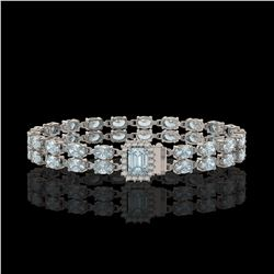 17.24 ctw Sky Topaz & Diamond Bracelet 14K White Gold - REF-236Y4X