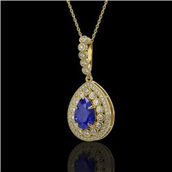 4.97 ctw Sapphire & Diamond Victorian Necklace 14K Yellow Gold - REF-160K2Y