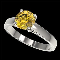 1.50 ctw Certified Intense Yellow Diamond Solitaire Ring 10k White Gold - REF-233M2G