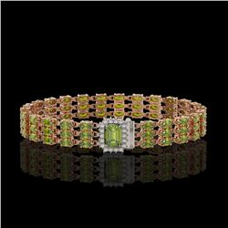 25.49 ctw Tourmaline & Diamond Bracelet 14K Rose Gold - REF-318G2W