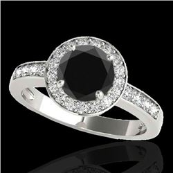 2 ctw Certified VS Black Diamond Solitaire Halo Ring 10k White Gold - REF-65K5Y