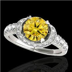 1.75 ctw Certified SI/I Fancy Intense Yellow Diamond Ring 10k White Gold - REF-204N5F