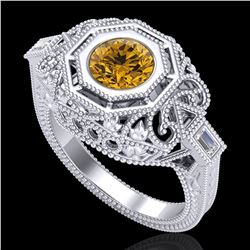 1.13 ctw Intense Fancy Yellow Diamond Art Deco Ring 18k White Gold - REF-309M3G