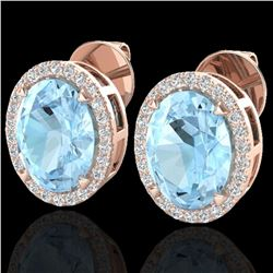 5.50 ctw Aquamarine & Micro VS/SI Diamond Halo Earrings 14k Rose Gold - REF-88R8K