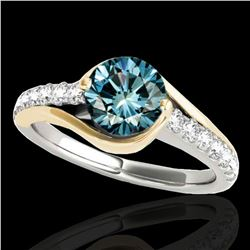 1.25 ctw SI Certified Blue Diamond Solitaire Ring 10k 2Tone Gold - REF-132G3W