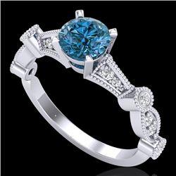 1.03 ctw Fancy Intense Blue Diamond Art Deco Ring 18k White Gold - REF-114M5G