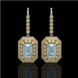11.32 ctw Aquamarine & Diamond Victorian Earrings 14K Yellow Gold - REF-327R3K