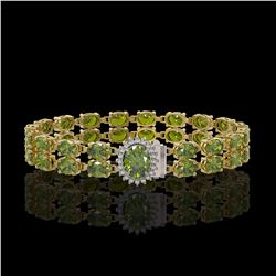 16.97 ctw Tourmaline & Diamond Bracelet 14K Yellow Gold - REF-263M6G