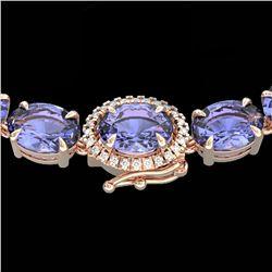 45.25 ctw Tanzanite & Diamond Eternity Micro Necklace 14k Rose Gold - REF-436R4K