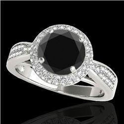1.65 ctw Certified VS Black Diamond Solitaire Halo Ring 10k White Gold - REF-79A3N