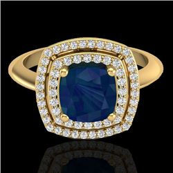 2.52 ctw Sapphire & Micro VS/SI Diamond Pave Ring 18k Yellow Gold - REF-77X3A